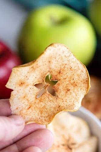 Close up of baked cinnamon apple crisp.