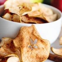 Bowl of cinnamon apple crisps