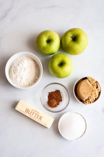Ingredients needed for apple crisp recipe.
