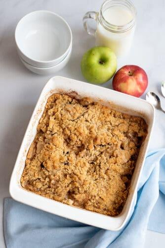 Apple crisp in baking dish.