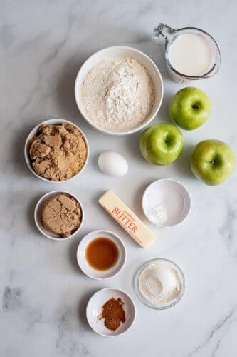 Ingredients to make apple pie muffins.