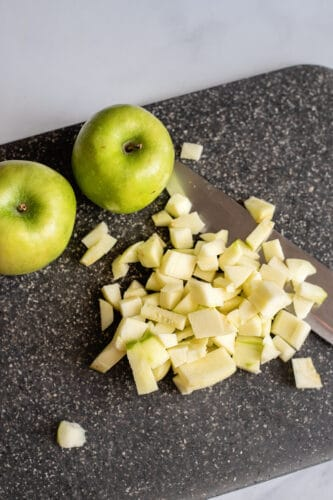 Peeled and chopped apples