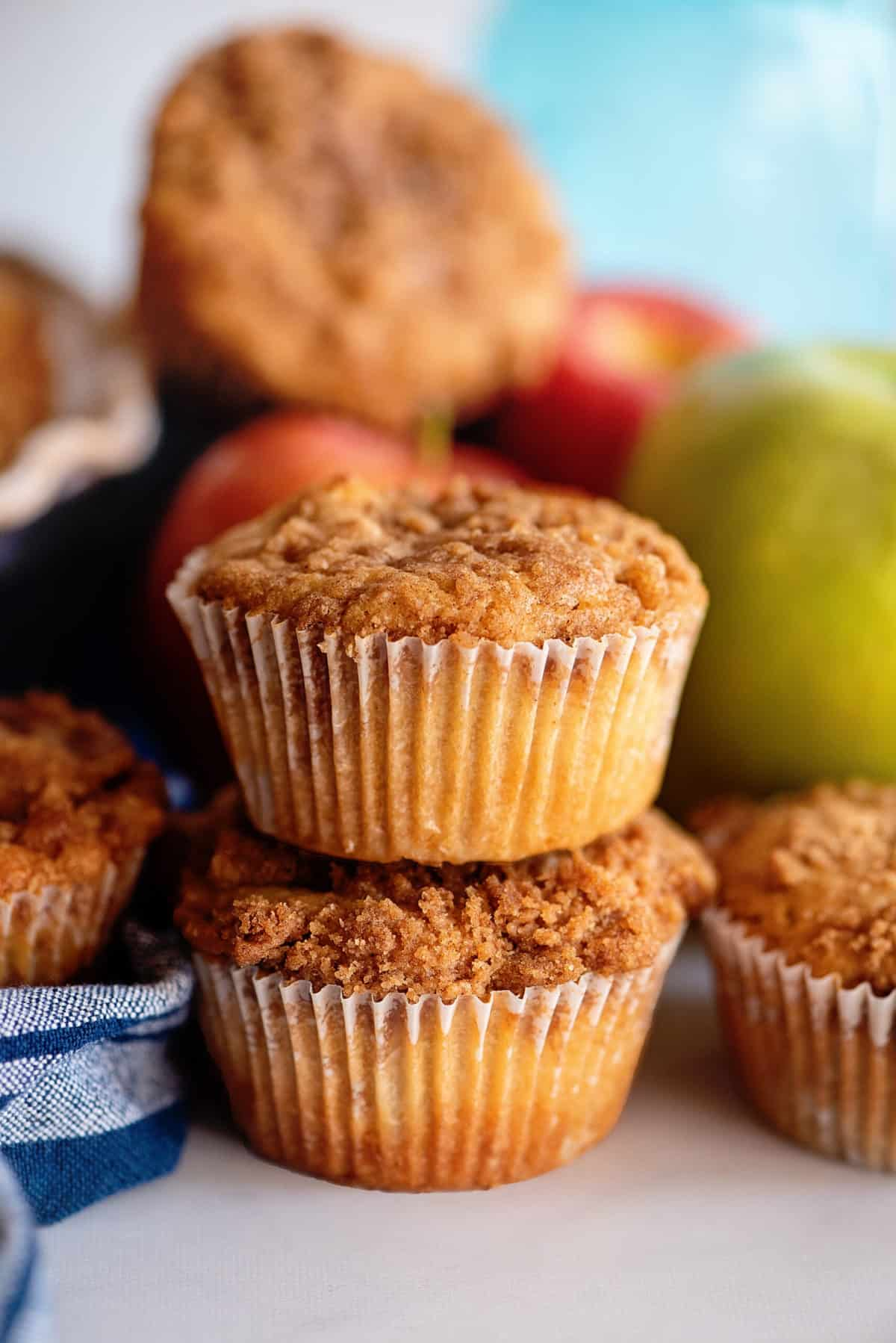 Stack of two apple pie muffins