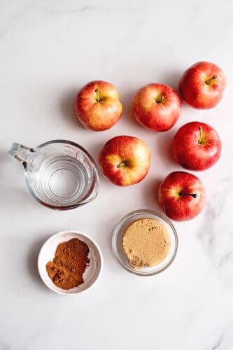 Ingredients for homemade cinnamon applesauce