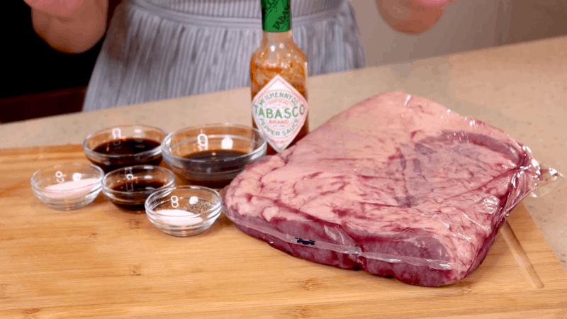 Recipe ingredients for slow-roasted beef brisket.