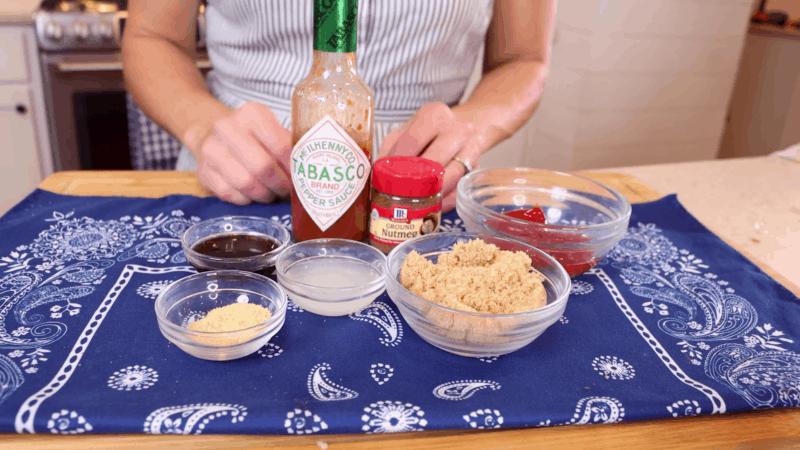 Sauce ingredients for slow-roasted beef brisket.