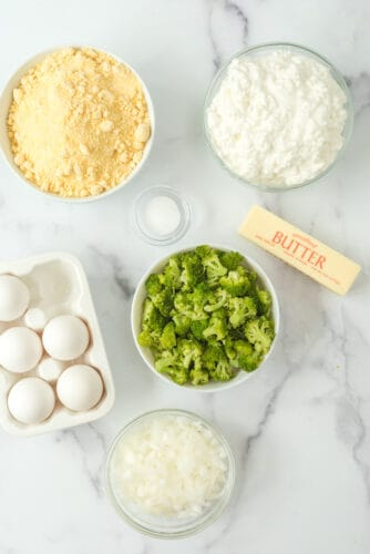 ingredients for broccoli cheese cornbread.