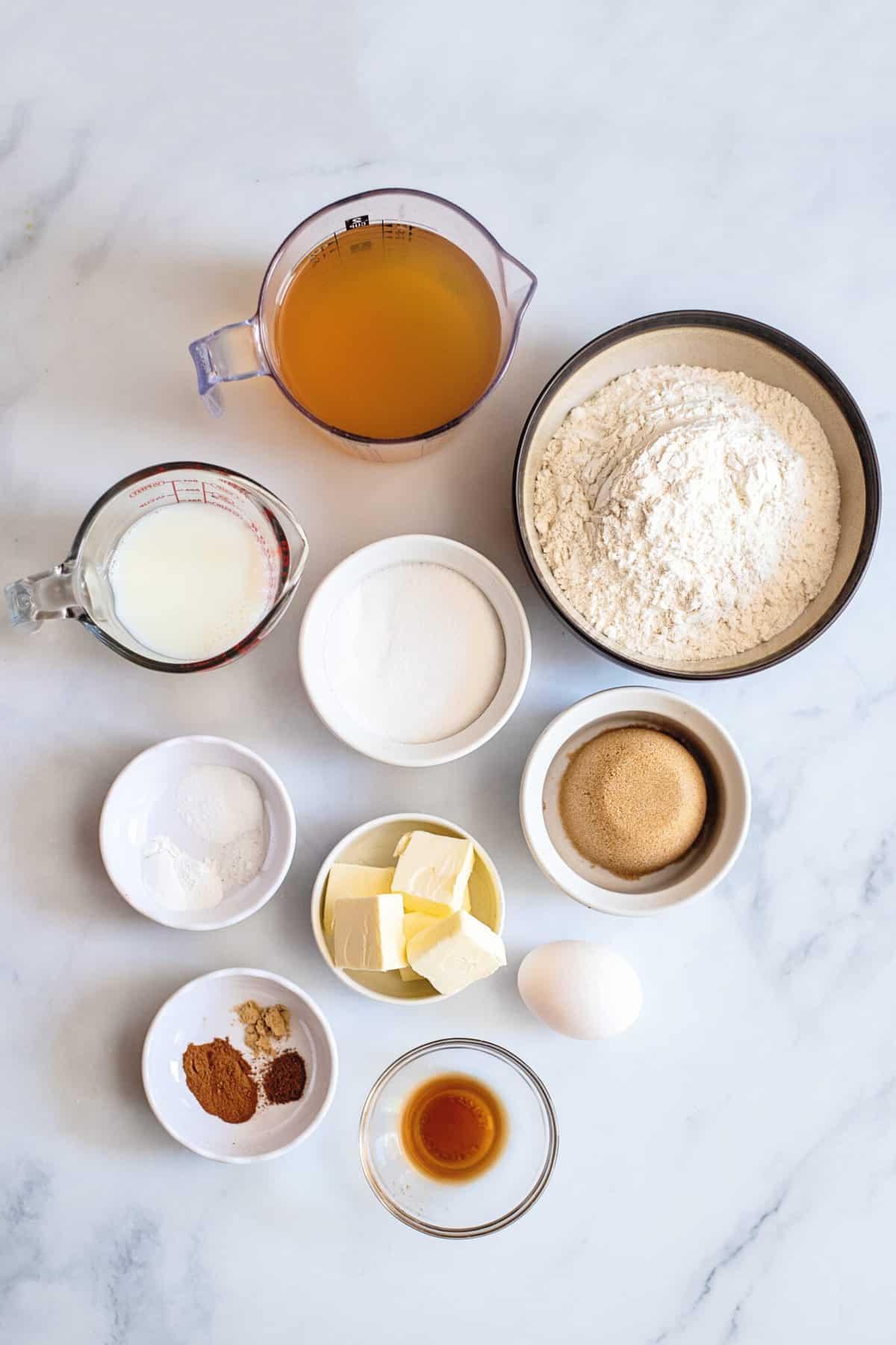 Ingredients for baked apple cider donut recipe.