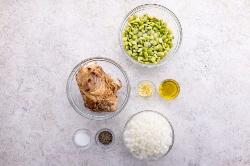 Recipe ingredients for butter beans recipe.