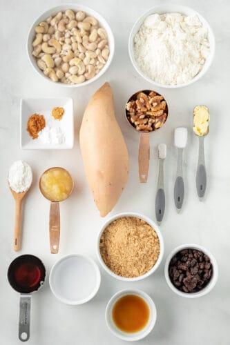 Ingredients for vegan sweet potato cake
