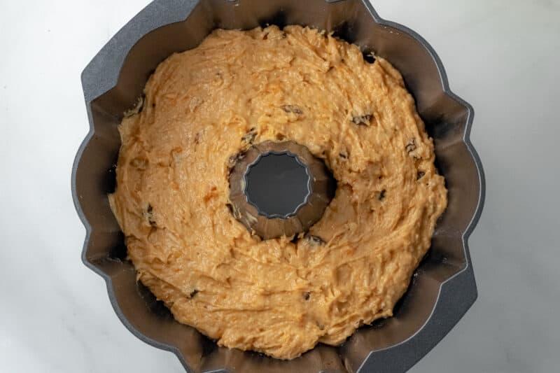 Cake batter in Bundt pan.