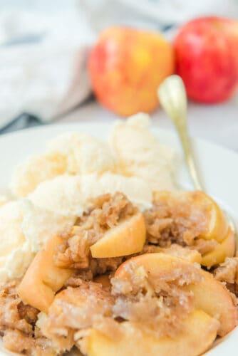 Bowl of apple crisp and ice cream.
