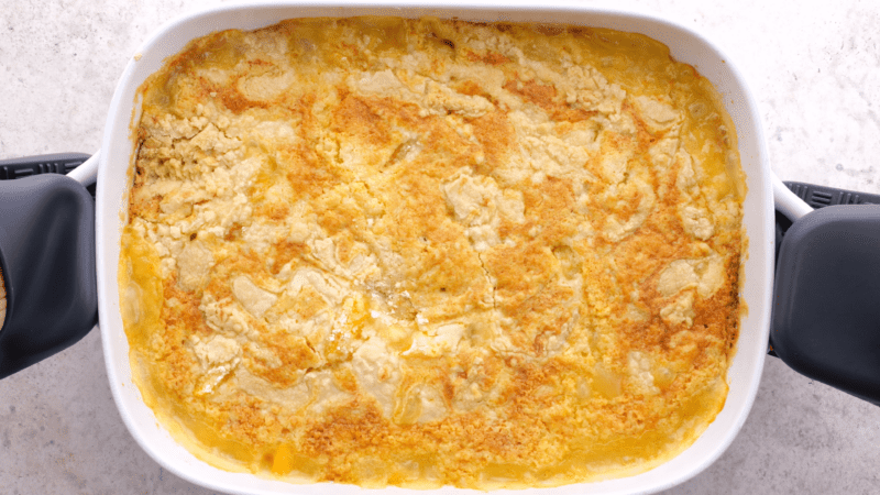 Dump cake direct from oven.
